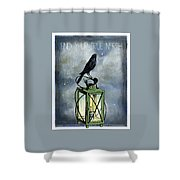 True North Crow Sits On The Night Lantern Shower Curtain