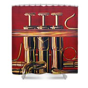 Trumpet In Red Shower Curtain