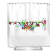 Trumpet Painted Digital Art Shower Curtain