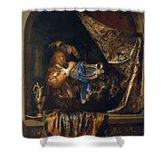 Trumpet Player In Front Of A Banquet 1665 Shower Curtain