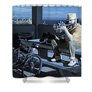 Trumpet Player Playing The Blues Fermin Point Los Angeles In Infrared Shower Curtain