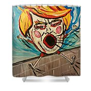 Trumpty Dumpty Falling Off His Imaginary Wall Shower Curtain