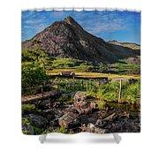 Tryfan Mountain Valley Shower Curtain