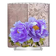 Tryst, Lavender Blue Peonies Still Life Flowers Shower Curtain