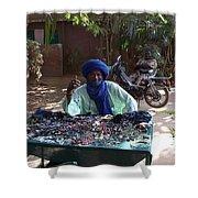 Tuareg Man Selling Jewelry Shower Curtain