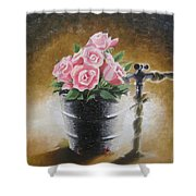 Tub Of Roses Shower Curtain