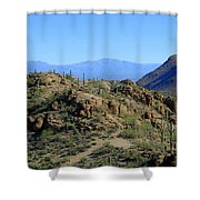 Tucson Mountain Ranges Shower Curtain