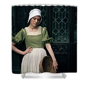 Tudor Woman Outside A Timber Building  Shower Curtain