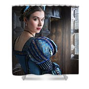 Tudor Woman With Puffed Sleeves And French Hood Facing A Window  Shower Curtain