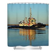 Tug Boat Reflections Shower Curtain