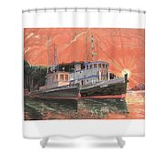 Tug Boats Anchored In Red Sky Shower Curtain