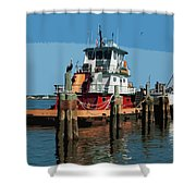 Tug Indian River At Port Canaveral In Florida Usa Shower Curtain