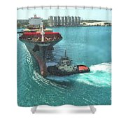 Tugboat At Freeport, Grand Bahamas Harbor Shower Curtain