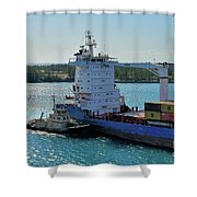 Tugboat Helping Container Ship Out Of Harbor Shower Curtain