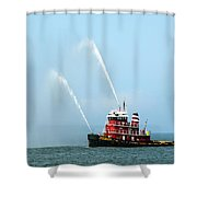 Tugboat's Welcome Salute Shower Curtain