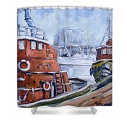 Tugs In Harbour Shower Curtain
