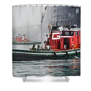 Tugs Maneuvering Ship In The Fog Shower Curtain