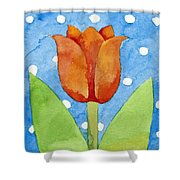 Tulip Blue White Spot Background Shower Curtain