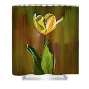 Tulip White Yellow Petals #h5 Shower Curtain