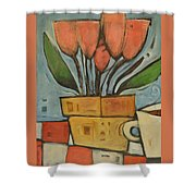 Tulips And Coffee Shower Curtain