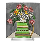 Tulips And Daisies Shower Curtain