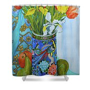 Tulips And Iris In A Japanese Vase, With Fruit And Textiles Shower Curtain