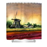 Tulips And Windmill From The Netherlands Shower Curtain