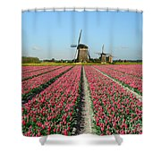 Tulips And Windmills In Holland Shower Curtain