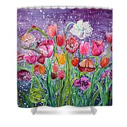 Tulips Are Magic In The Night Shower Curtain