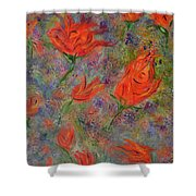 Tulips- Floral Art- Abstract Painting Shower Curtain