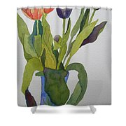 Tulips In Blue Vase Shower Curtain