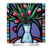 Tulips In Glass Vase Shower Curtain