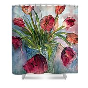 Tulips In Rosie's Vase Shower Curtain