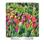 Tulips. Monet Style Digital Painting. Shower Curtain