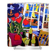 Tulips, Pears, Sailboats Shower Curtain