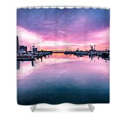 Tuna Harbor Sunrise Shower Curtain