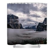 Tunnel View Storm Clouds Shower Curtain