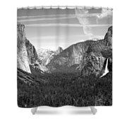 Tunnel View Yosemite B And W Shower Curtain