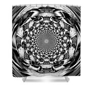 Tunnel Vision-black And White Shower Curtain