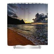 Tunnels Beach Sunset Shower Curtain