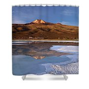 Tunupa Volcano Reflected In Salar De Uyuni At Twilight Bolivia Shower Curtain