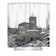 Tures Castle In The Snow Shower Curtain