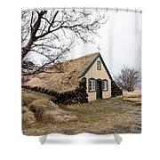 Turf Church At Hof In Iceland Shower Curtain