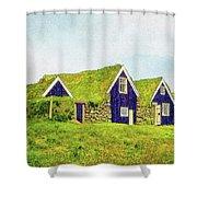 Turf Huts In Skaftafell Shower Curtain