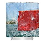 Turkish Flag Shower Curtain