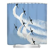 Turning In Unison Shower Curtain