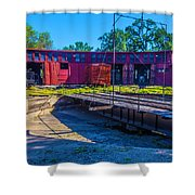 Turntable At Roundhouse Shower Curtain