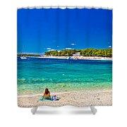 Turquoise Adriatic Beach In Primosten Shower Curtain