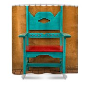 Turquoise And Red Chair Shower Curtain