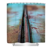 Turquoise And Rust Abstract Shower Curtain